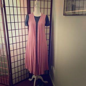"""Pretty in Pink """"Joy"""" Long Vest by LuLaRoe Sz S"""
